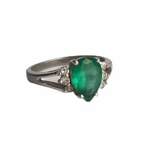 Vintage Sterling Silver Ring Faux Emerald Diamond